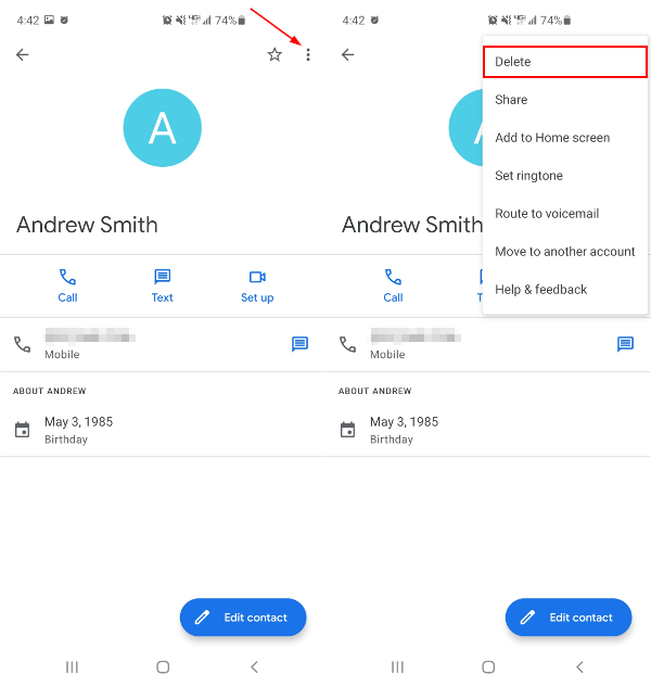 Google Contacts Mobile App Delete Contact