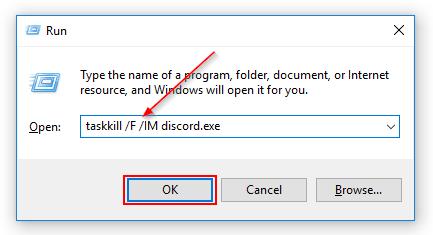 Windows Run Window Taskkill Discord Command
