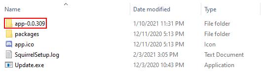 Discord App Version Folder in Windows Explorer