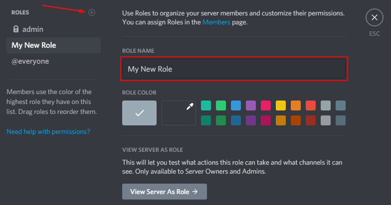 Discord Create New Role Button with Role Name Highlighted