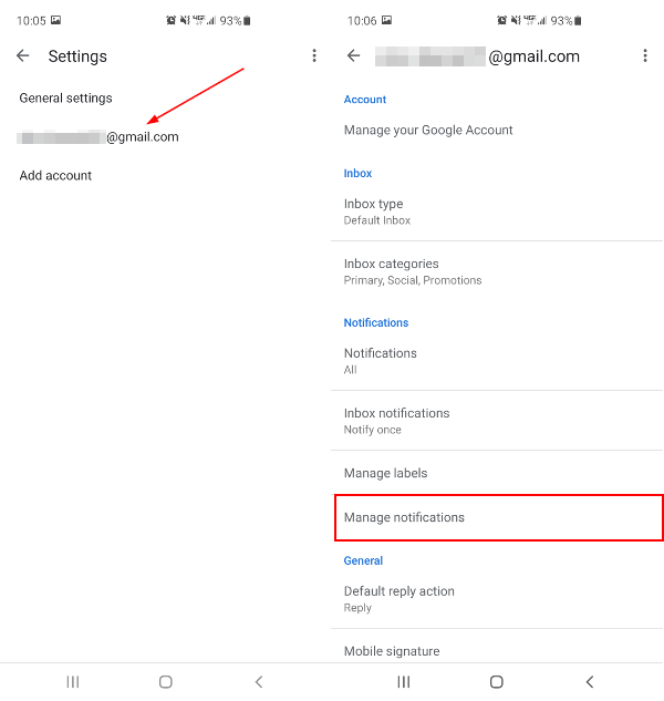Gmail Mobile App Manage Notifications Option