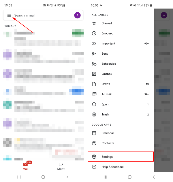 Gmail Mobile App Open Hamburger Menu with Settings Highlighted