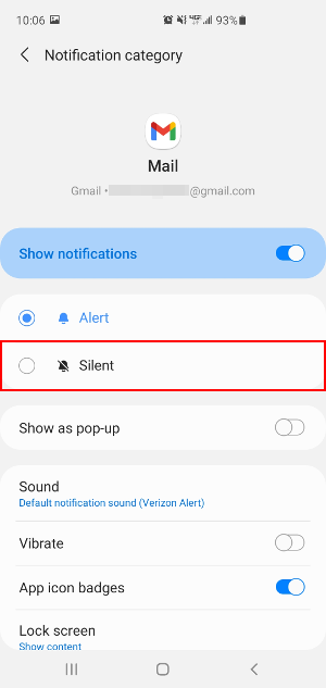 Gmail Notification Settings with Silent Option Highlighted