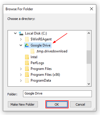 Google Drive Locate and Select Folder