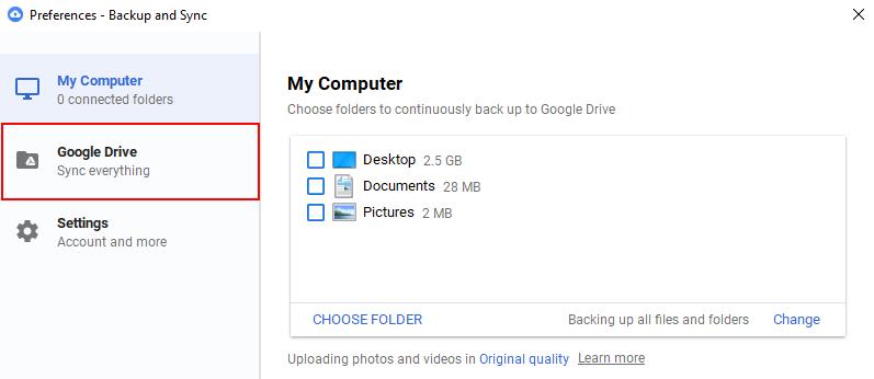 Google Drive Preferences Window Google Drive Option