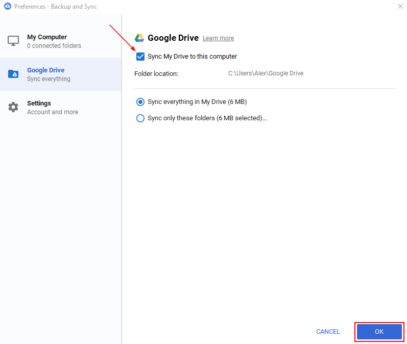Google Drive Sync My Drive to This Computer Checkbox