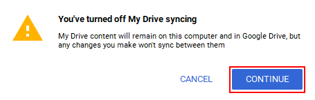 Google Drive Turn Off Sync Warning Message