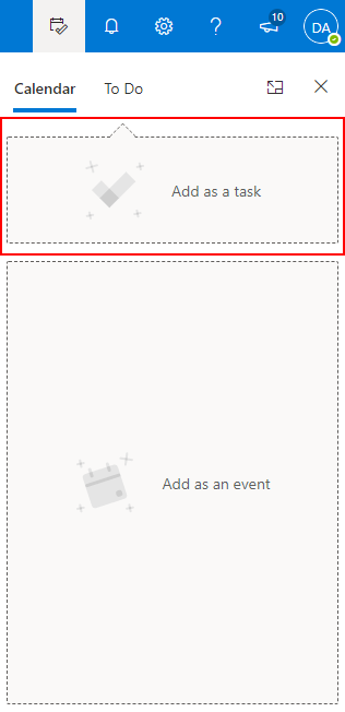 Outlook 365 Drag and Drop Email to Calendar Add as Task Box
