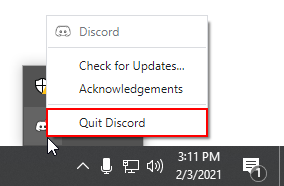 Quit Discord in System Tray Windows 10