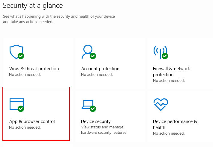 Windows 10 App & Browser Control in Security Dashboard