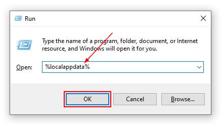 Windows 10 Run Window LocalAppData Command