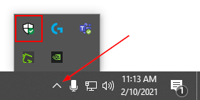 Windows Security Icon in System Tray