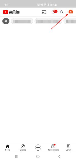YouTube Mobile App User Icon