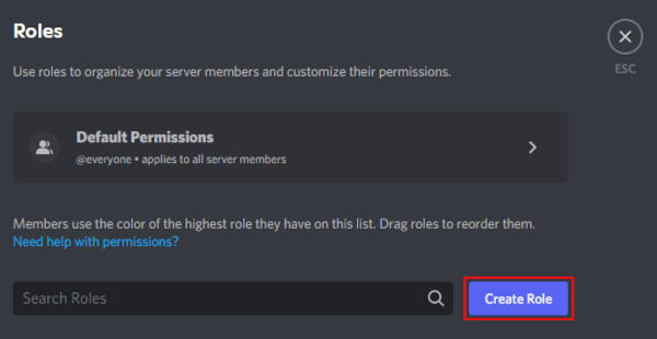 Discord Create Role Button on Roles Page
