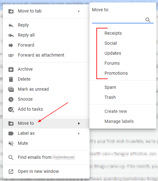 Gmail Right Click Email Menu with Move to Expanded and Labels Highlighted