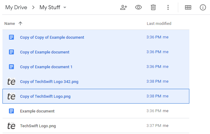 Google Drive List View with Duplicate Files Selected