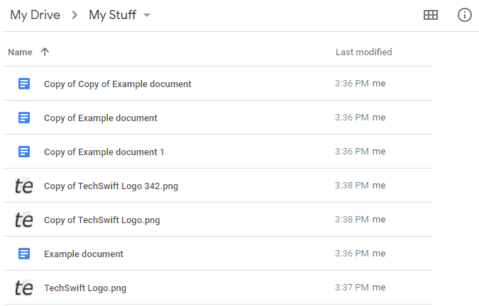 Google Drive List View with Duplicate Files