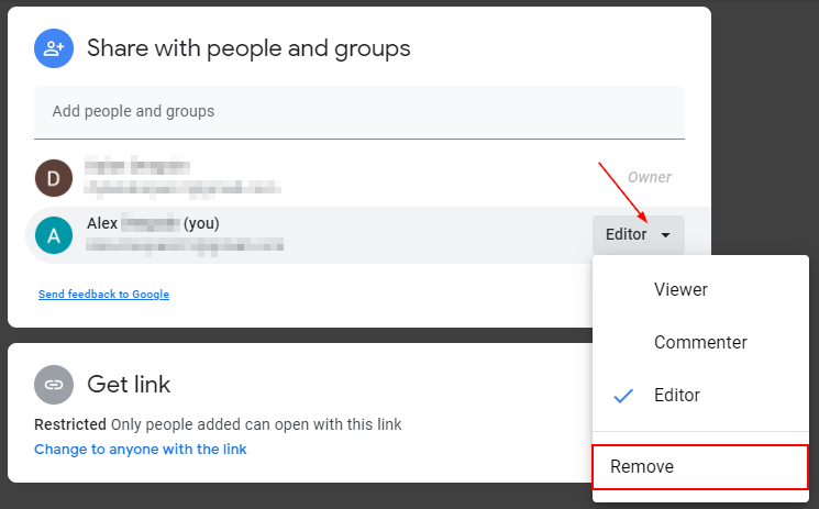 Google Drive Share Screen with Dropdown Menu on Self open and Remove Highlighted