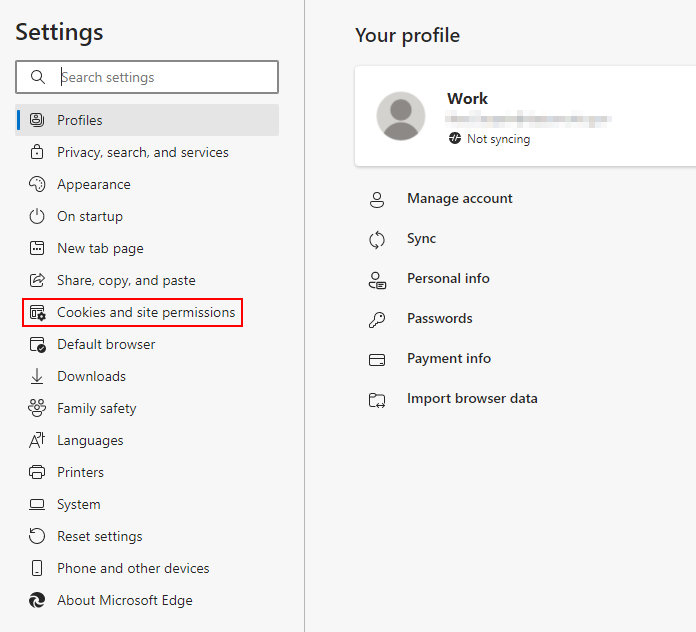 Microsoft Edge Cookies and Site Permissions in Settings