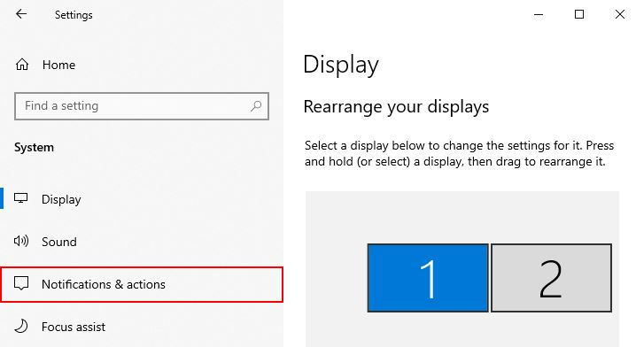 Windows 10 Notifications and Actions in System Settings Menu