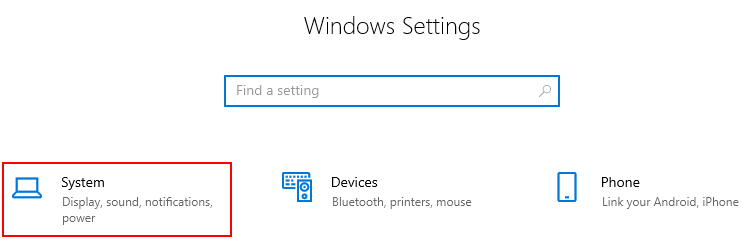 Windows 10 System in Settings Menu