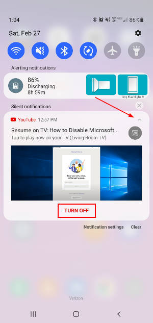 YouTube Resume on TV Android Notification Expanded with Turn Off Button Highlighted