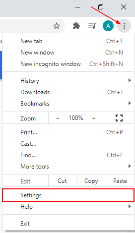 Google Chrome Ellipsis Menu Expanded with Settings Option Highlighted