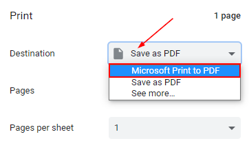 Google Chrome Print Preview Destination Field with Microsoft Print to PDF in Dropdown Menu