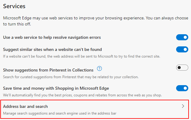Microsoft Edge Chromium Address bar and search Option in Privacy, search and services Screen
