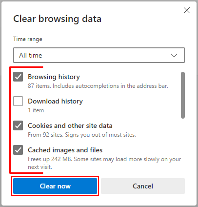 Microsoft Edge Chromium Clear browsing data with Checkboxes and Clear now Button Highlighted
