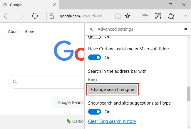 Microsoft Edge Classic Change Default Search Enginge Button in Advanced Settings