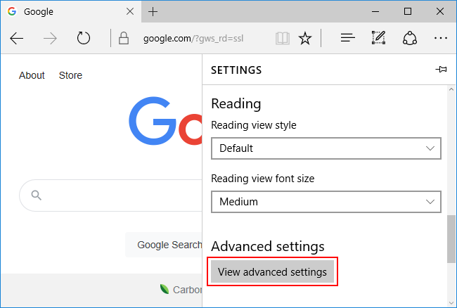 Microsoft Edge Classic View Advanced Settings Button in Settings Menu