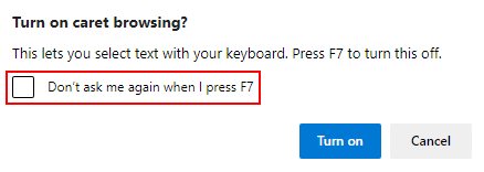 Microsoft Edge Enable Caret Browsing Prompt with Don't ask Again Checkbox Highlighted