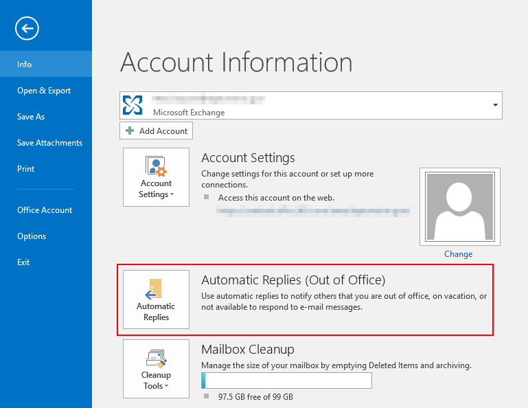 Outlook Automatic Replies Option in File Info Tab