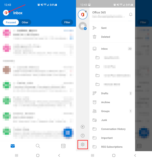 Outlook Mobile App Outlook Icon Menu Expanded with Settings Icon Highlighted