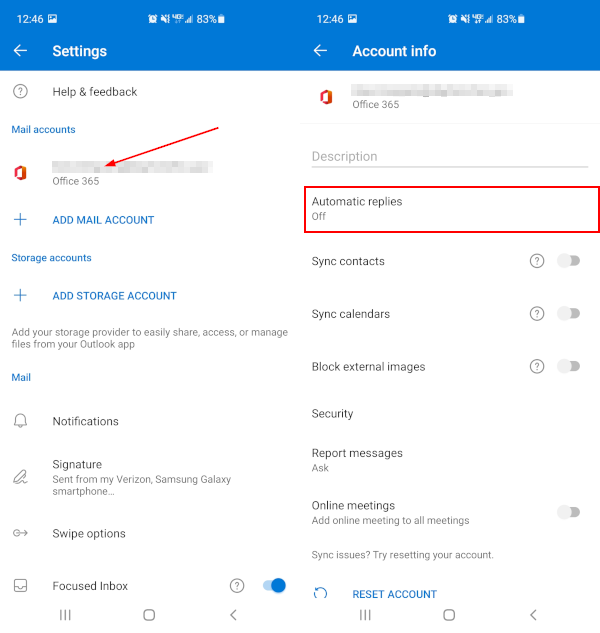Outlook Mobile App Settings Screen with Mail Account and Automatic Replies Highlighted
