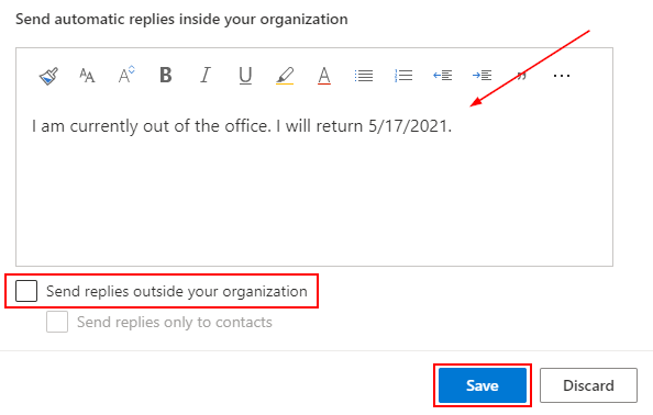 Outlook Office 365 Automatic Replies with Custom Message and Save Button Highlighted