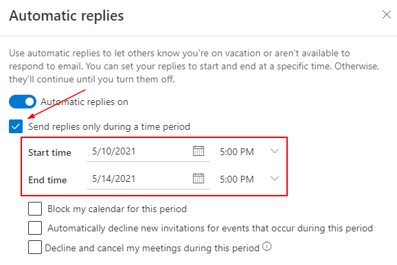 Outlook Office 365 Automatic Replies with Time Period Specified