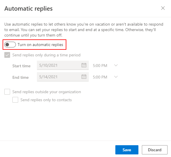 Outlook Office 365 Enable Automatic Replies Toggle in Settings