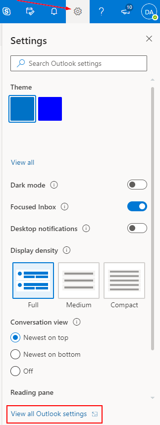 Outlook Office 365 Settings Menu with View all Outlook Settings Highlighted