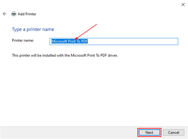 Windows 10 Add Printer Window with Printer Name Containing Microsoft Print to PDF
