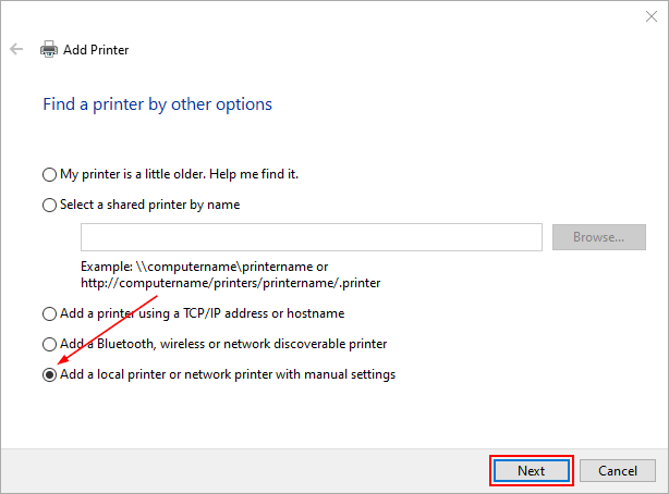 Windows 10 Add Printer Windows with Local Printer Option Selected and Next Button Highlighted