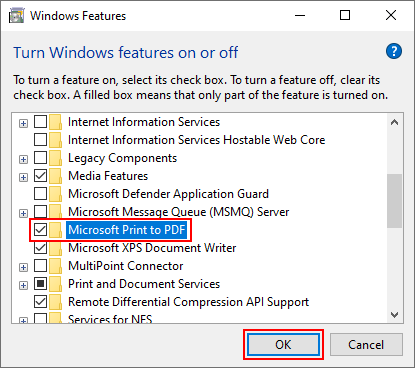 Windows 10 Microsoft Print to PDF in Optional Features with OK Button Highlighted