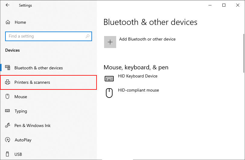 Windows 10 Printers and Scanners Option in Device Settings