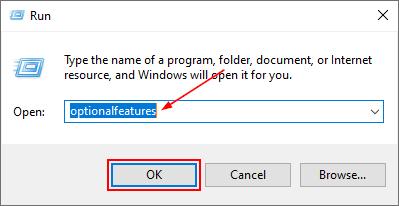 Windows 10 Run Window with optionalfeatures Command