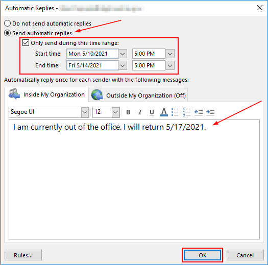Windows Outlook Automatic Replies Window with All Fields Filled out and Highlighted