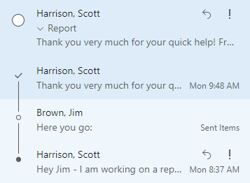 Conversation View Example in Outlook for the Web