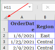 Excel Office 365 Select All Button