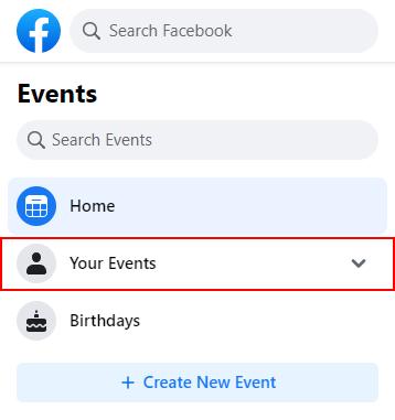 Facebook Desktop Your Events in Left Menu