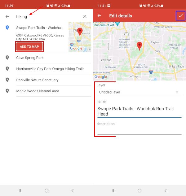 Google My Maps Mobile App Add to Map from Search Results